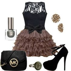 Black lace top and skirt outfit.