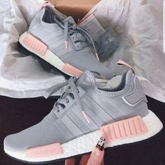 HOT 🔥 PINK   GREY Adidas Running NMD Shoes for Women 09cbd77412dff