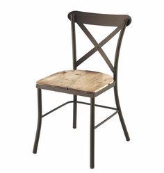 Silla para restaurante de estilo industrial y vintage, con estructura metálica y asiento en madera.