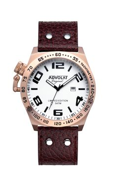 ADVOLAT CRUSH, Stainless Steel Casing IP rose gold, Face white/black, Leather Bracelet brown, Raised Glass with Magnifying-Effect and Crown Protection, Ref. 86001/1RG-L3, http://www.advolat-watches.eu/shop/crush/
