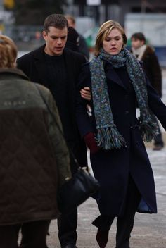 "Here's a photo of Matt Damon and Julia Stiles as CIA operatives Jason Bourne (Real Name: David Webb) and Nicolette ""Nicky"" Parsons in The Bourne Supremacy in Berlin. Jason Bourne Movie 2016, Matt Damon Jason Bourne, Julia Stiles, David Webb, Matt Damon Movies, James Bond Characters, Bourne Movies, Bourne Supremacy, Joan Allen"