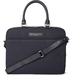 WANT Les Essentiels de la Vie - Haneda Leather-Trimmed Organic Cotton-Canvas Briefcase