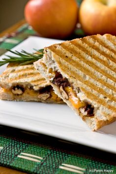 Cheddar and Apple Butter Panini with Rosemary Candied Pecans