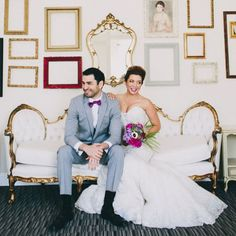 Loving this radiant orchid wedding inspiration with a giant geode backdrop!