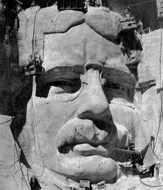 The head of Theodore Roosevelt under construction, c. Roosevelt was dedicated in Time Vault, Fort Laramie, International Symbols, Photo Supplies, Rapid City, Theodore Roosevelt, Us Presidents, Photography Business, Mount Rushmore