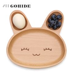JUH 1pc Cute Rabbit Face Wood Dinner Plate Kids Cartoon Pattern Food Fruit Dish Tray Child Baby Serving Wood Plate Cutlery Tools