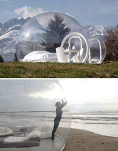 this looks like an awesome way to camp .Rent an inflatable, transparent 'bubble tent' and place it just about anywhere in the South of France, from the hilly countryside of Mont Blanc to the beach or even in a tree. Bubble House, Bubble Tent, Bubble Boy, Glamping, Tent Camping, Camping Site, Camping Trailers, Structures Gonflables, Mobile Architecture