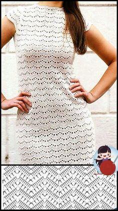 Gilet Crochet, Crochet Motifs, Crochet Blouse, Crochet Lace, Crochet Stitches, Knit Dress, Crochet Patterns, Simple Crochet, Crochet Ideas