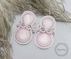 K.Avril - soutache pastel light rose MOP earrings
