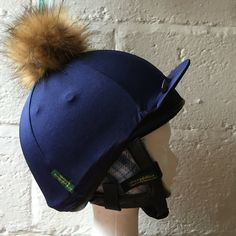 7b7f4a61d02 Faux fur Pompom Silk- navy Riding Hat Earwarmers - navy www.foxxytweed.com