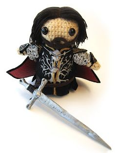 My children will have a crochet version of the Fellowship! :D  http://geekcentralstation.blogspot.com/2008/03/free-pattern-hobbits-and-gimli.html