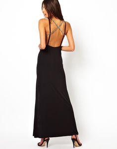 ASOS | ASOS Deep Plunge Crystal Strappy Maxi Dress at ASOS