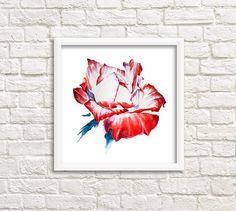 Red Rose Watercolor Art Print Watercolor Roses от DariyPrintJulia