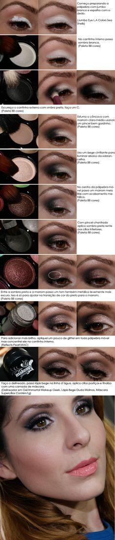 Cacau Make UP: Tutorial de Sexta - Brown Lila com Glitter (in Portuguese)