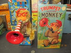 icollect247.com Online Vintage Antiques and Collectables - TRUMPET PLAYING MONKEY BATTERY OPERATED 1950S JAPAN IN BOX