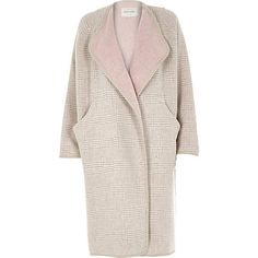 Beige check relaxed fit longline blanket coat River Island