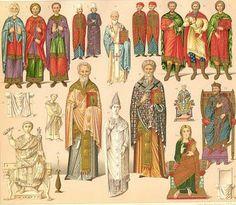 Los emperadores romanos se habían convertido al cristianismo y en el Este el poder estaba en manos del Estado y la Iglesia, debido a esto el vestuario giró hacia un modo más rígido y serio. La clase alta del Imperio Bizantino utilizaba la túnica como prenda básica de vestir,