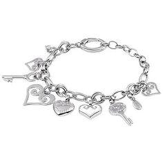 Fossil heart and key charm bracelet