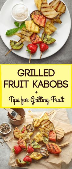 Grilled Fruit Kabobs + Tips for Grilling Fruit! If youve not had grilled fruit, you may think it sounds a little odd. But one try is all it takes to fall in love. Grilling brings out the natural sugars in fruit, making for an intensely sweet treat. Watermelon Recipes, Fruit Recipes, Appetizer Recipes, Appetizers, Appetizer Dessert, Clean Eating Snacks, Healthy Snacks, Healthy Eating, Vegetarian Recipes