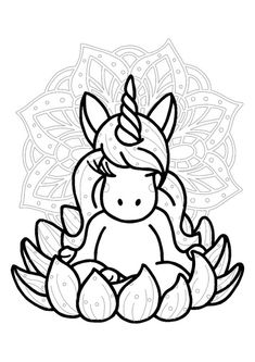 Unicorn mandala coloring page Emoji Coloring Pages, Birthday Coloring Pages, Mermaid Coloring Pages, Cool Coloring Pages, Mandala Coloring Pages, Free Printable Coloring Sheets, Coloring Sheets For Kids, My Little Pony Unicorn, Christmas Unicorn