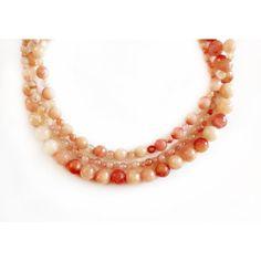 325e47b7152d Collar de Ágatas en color salmón ( 250) ❤ liked on Polyvore featuring  accessories