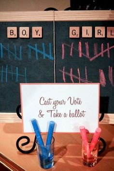 Cast your vote chalkboard for gender reveal party!
