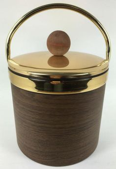Vintage Ice Bucket for the home bar in Faux Wood and Brass - Vintage barware and kitchenware at shopvintagegrace.com