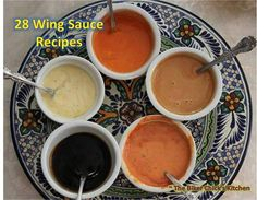 Wow! Who loves wings? I do! I do! Check this out!   28 Wing Sauces - Good on Fried, Baked or Grilled Wings Simply mix ingredients together unless otherwise specified Ancho-Peach - 1/2 cup peach preserves, 1 1/2 tablespoons each lemon juice and soy sauce, and 1 teaspoon ancho chile powder.... Cajun - 6 tablespoons melted butter, adding 1/4 cup hot sauce, ¼ tsp cayenne pepper, and 2 tablespoons Tony Chachere Cajun seasoning. Carolina Style BBQ- Mix 3 tablespoons each melted butter, yellow ...