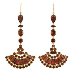 Antique Victorian Marquise-Shaped And Round Foiled-Back Garnet Ear Pendants, Mounted In Yellow Gold  -  Doyle Auctions