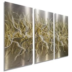 NEW Gold & Silver Hand-Etched Abstract Wall by JonAllenMetalArt