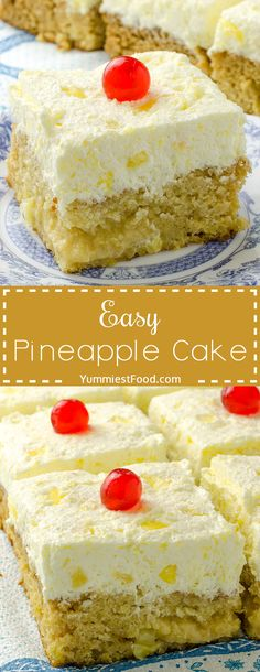 Easy Pineapple Cake - the best Pineapple Cake I have ever made! Perfect for these summer days! This Easy Pineapple Cake is my new favorite! So light and fluffy!
