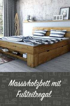 4 bed boxes, foot section shelf A real storage space miracle: books or decorative elements can be placed on the base of this pretty solid wooden bed. Bed Frame With Storage, Diy Bed Frame, Bed Storage, Clothes Storage, Storage Organization, Bedroom Storage, Wooden Bed Frames, Wood Beds, Cama Futon
