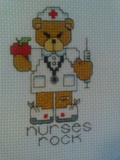 Nurse bear cross stitch