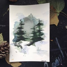 watercolour, forest, easy, Christmas, DIY, cards, drawing, painting