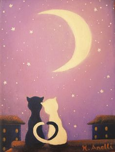 Cats on the Roof Original hand painted canvas Home Decor, Illustration, Cat Painting, Cat Illustration, Cat Art, Cat Decor, Cats, Cat Canvas, Kids Room Wall Art, Baby Room, Teens Art, Teenagers Room, Kids Bedroom Wall Art, Playroom Art, Mixed Media, Nursery Decor, Purple Painting, Hand Painted, Nursery Wall Art, Print, Small Painting, Original Art, Original Painting, Gold, Golden, Present, Gift Idea, Last Minute Gift Idea, Baby Shower, Worldwide Shipping, Anelli, Portugal