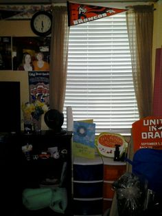 Make the rest home feel like home by customizing to the residence style & reminding them of loved ones! Here, curtains were hung by using a then expendable curtain rod and command hooks. My Richard is a big Broncos fan so you'll notice Broncos stuff. I also hung a poster of his favorite beer. :) Hang nice, big pictures on walls that are farther away from the resident and harder to see. Shelves and drawers are also good places to display cards or go ahead and tape those to the wall too. Lets…