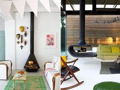 Hangende haard design open haard Nice to living Pinterest