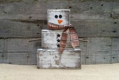 Rustic Wooden Snowman, Christmas Decor, Block Snowman, Reclaimed Distressed Wooden Snowman, Primitive Christmas, Winter Decor, Free Shipping