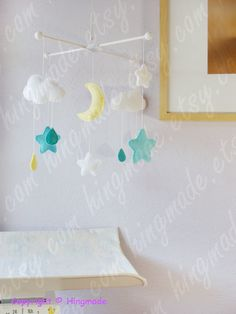 Moon and Stars MobileBaby Mobile Nursery Decor Ceiling by hingmade