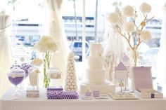 Lavender and white dessert table. Great for a wedding or a sophisticated Easter table.