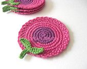 Pink Purple Flowers Crochet Coasters . Coffee Tea Beverage Decor Crochet Garden Collection Set of 4 Made to order
