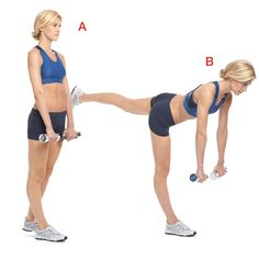 Hold a 5- to 15-pound dumbbell in each hand and stand on your right leg, lifting your left leg a few inches behind you (a). Keeping your back straight, lean forward from your hips until your body is almost parallel to the floor, the weights in line with your shoulders (b). Return to start. That's 1 rep. Do 12, then switch legs.