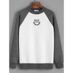 Colour-block Round Neck Letters Print Sweatshirt (82 SAR) ❤ liked on Polyvore featuring tops, hoodies, sweatshirts, color block sweatshirt, patterned sweatshirt, cotton sweatshirt, round top and round neck top