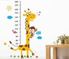 Height Ruler Home Decoration Sticker wallpaper Vinilos Paredes Kids Height Chart Wall Sticker Home Decor Cartoon Giraffe Vinyl Wall Art, Wall Decal Sticker, Nursery Wall Art, Giraffe Nursery, Giraffe Baby, Sticker Paper, Height Ruler, Cartoon Giraffe, Tween