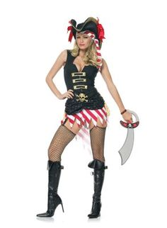 Captain Marauder Costume from adult clothing store Passion Shop, in the Lingerie, Sexy Costumes section, by Leg Avenue. Includes striped headscarf and vest dress with ruffled skirt and skull and crossbones belt buckle. Hat not included