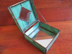 Vintage stained glass jewelry box, handmade jewelry box, green glass, beveled glass center