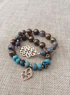 Turquoise and bronze bead bracelet