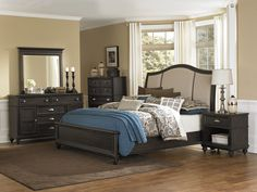 transitional bedroom designs   Transitional Antique Coffee Studded Bedroom - Adult - Bedroom