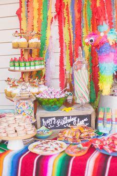 first birthday dessert table. fiesta style - First Birthday Party Decor Ideas Mexican Birthday Parties, Girl Birthday Themes, Girl First Birthday, First Birthday Parties, Mexican Party, Birthday Ideas, 85th Birthday, 30th Party, Baby Birthday