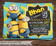 Minions Invitation. Minions Birthday by HolidayPrintDesign on Etsy